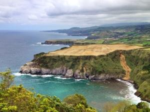 Scenic shot of the coastline on Sao Miguel